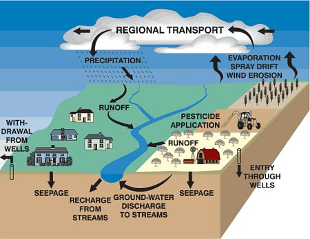 Pathways of pesticide movement in the hydrologic cycle (USGS)