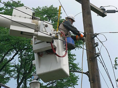 A lineman working on power lines received a serious electrical shock